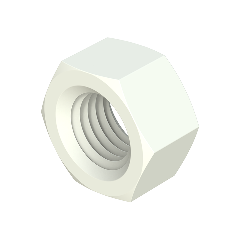 Our hexagonal nuts (similar to DIN 34814, former DIN 934/555) are manufactured in different <b>engineered materials</b> that favor properties such as <i>chemical, mechanical, oxidation resistance, etc.</i> They are available in <b>PA66</b> -Nylon-, <b>PP</b> -Polypropylene-, <b>POM</b> -Acetal Resin-, <b>PVDF</b> -Polyvinylidene Fluoride-, <b>PEEK</b> -Polietereterketone- and <b>PAGF</b> -<i>Nylon with the possibility of up to 50% fiberglass-</i>.